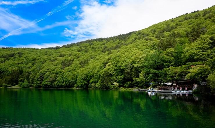 四尾連湖畔